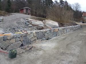 Pågående granitmursbygge